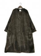 CLANE(クラネ)の古着「ノーカラーファーコート」 ブラウン