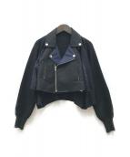TOGA PULLA(トーガプルラ)の古着「メッシュ切替ライダースジャケット」|ブラック