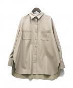 U by SPICK&SPAN(ユー バイ スピック&スパン)の古着「20SSフェイクレザーシャツ」 ベージュ