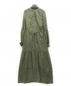 U by SPICK&SPAN(ユー バイ スピック&スパン)の古着「20SSフロントボタンVネックドレス」 グリーン