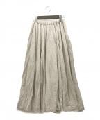 UNFIL(アンフィル)の古着「フレンチリネンジャージーフレアスカート」|ベージュ(ナチュラル)