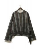 SUNSEA(サンシー)の古着「ポリツイードチェックプルオーバー」|ブラウン