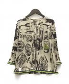 TOKUKO1erVOL(トクコプルミエヴォル)の古着「プリーツカーディガン」 ベージュ×ブラウン