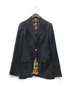 ()の古着「レオパードテーラードジャケット」 ブラック
