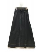 HaaT(ハート)の古着「カラーステッチフレアスカート」|ブラック