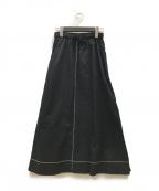 HaaT(ハート)の古着「カラーステッチフレアスカート」 ブラック