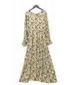 SOULEIADO(ソレイアード)の古着「レーヨンプリントVネックロングワンピース」|ベージュ
