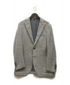 ()の古着「ウールコットンヘリンボーンニットジャージ2Bジャケット」|ホワイト×ブルー