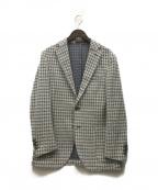 eleventy(イレブンティ)の古着「ウールコットンヘリンボーンニットジャージ2Bジャケット」 ホワイト×ブルー