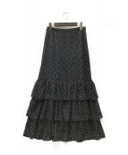 U by SPICK&SPAN(ユー バイ スピック&スパン)の古着「20SS プリントティアードスカート」|ネイビー
