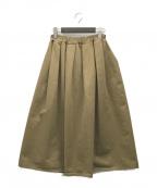 GALLEGO DESPORTES(ギャレゴデスポート)の古着「タックフレアスカート」|ベージュ