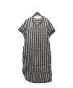 comme ca(コムサ)の古着「ストライプシャツドレス」 ネイビー×ブラウン