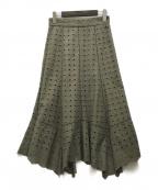 JILL STUART(ジルスチュアート)の古着「ジュディエンブロイダリースカート」|カーキ