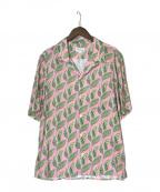 agnes b homme(アニエスベーオム)の古着「リーフプリント開襟シャツ」 ピンク