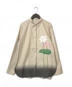 comme ca(コムサ)の古着「シルクプリントシャツ」 ベージュ