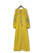 ()の古着「ボリュームスリーブ刺繍ワンピース」|イエロー