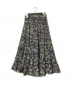 ISABEL MARANT ETOILE(イザベルマランエトワール)の古着「20SS コットンフラワープリントティアードスカート」|ネイビー