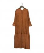 Gabardine K.T(ギャバシンケーティー)の古着「ソフトオーガンジープリーツロングシャツ」 テラコッタ
