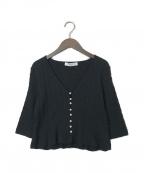 HER LIP TO(ハーリップトゥ)の古着「クロップドパールカーディガン」|ブラック
