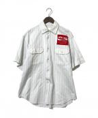 NEON SIGN(ネオンサイン)の古着「KOKAKOLAストライプシャツ」|ホワイト×ネイビー