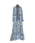 ()の古着「ボウタイマキシ花柄ワンピース」|ブルー