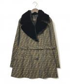 FENDI(フェンディ)の古着「ファー付きズッカ柄トレンチコート」|ブラウン×ブラック