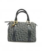 Christian Dior(クリスチャン ディオール)の古着「トロッター柄ミニボストンバッグ」|ネイビー×ホワイト