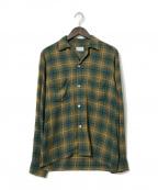 TOWN CRAFT(タウンクラフト)の古着「ヴィンテージオープンカラーチェックシャツ」 オリーブ