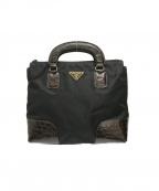 PRADA()の古着「ナイロン型押しコンビハンドバッグ」|ブラック