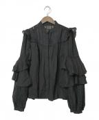 HER LIP TO(ハーリップトゥ)の古着「パフスリーブレースブラウス」|ブラック