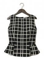Christian Dior(クリスチャン ディオール)の古着「ペプラムチェックN/Sブラウス」|ブラック