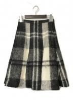 Christian Dior(クリスチャン ディオール)の古着「モヘヤウールチェックフレアスカート」|ホワイト×ブラック