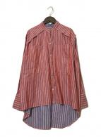 ()の古着「リバーシブルストリプシャツ」 レッド×ブルー