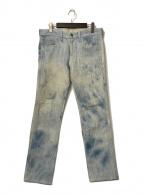()の古着「ブリーチデニムパンツ」 ブルー