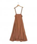CLANE(クラネ)の古着「ハイウェストサスペンダースカート」|ブラウン