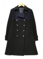 Paul Smith BLACK(ポールスミスブラック)の古着「カシミヤ混パターン切替コート」|ネイビー×ブラック