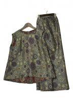 45R(フォーティファイブアール)の古着「インディゴフラワージャガードセットアップ」|イエロー×ネイビー