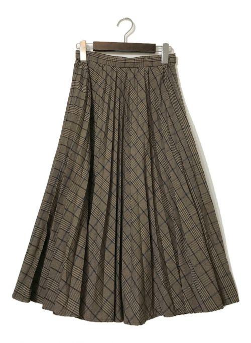 MAISON SPECIAL(メゾンスペシャル)MAISON SPECIAL (メゾンスペシャル) チェックアコーディオンプリーツマキシスカート ブラウン サイズ:36の古着・服飾アイテム