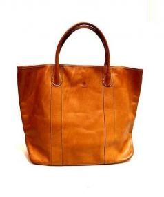 ALBERO(アルベロ)の古着「ヌメレザー ハンドバッグ」|ブラウン