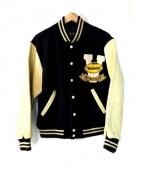 VAN JAC(ヴァンジャケット)の古着「袖レザーセミデコスタジャン」|ネイビー
