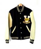 VAN JAC(ヴァンジャック)の古着「袖レザーセミデコスタジャン」|ネイビー
