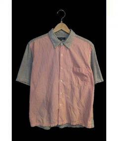 COMME des GARCONS HOMME(コムデギャルソンオム)の古着「切替半袖シャツ」|グレー×レッド