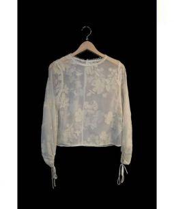 SNIDEL(スナイデル)の古着「フラワーフロッキートップス+スカート」|ベージュ