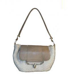 TOFF&LOADSTONE(トフ&ロードストーン)の古着「レザーコンビハンドバッグ」|シルバー