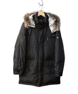 BURBERRY BLACK LABEL(バーバリーブラックレーベル)の古着「フォックスファー付ダウンコート」 ブラック