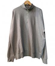 AURALEE(オーラリー)の古着「BACK WOOL SWEAT HALF ZIP P/O」|グレー