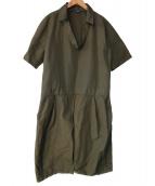 JIL SANDER NAVY(ジルサンダーネイビー)の古着「vネックナイロンワンピース」|カーキ