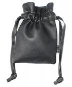 agnes b(アニエスベー)の古着「巾着レザーバッグ」|ブラック