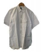 COMME des GARCONS HommePlus EVER GREEN(コムデギャルソンオムプリュスエバーグリーン)の古着「スタッズストライプシャツ」 ホワイト×ブルー