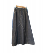 CLEANA(クリーナ)の古着「切替プリーツスカート」 インディゴ
